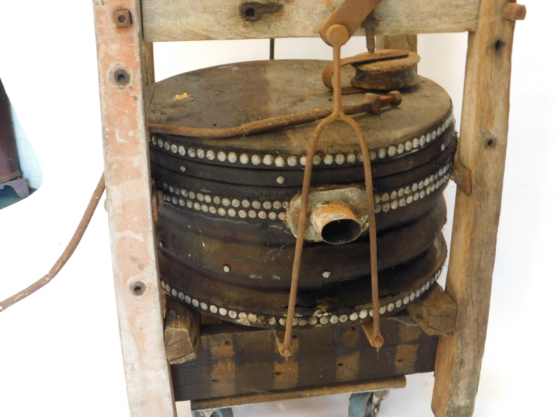 A large set of blacksmith's or industrial bellows, with cradle, etc., 75cm wide. Auctioneer Announce - Image 3 of 4