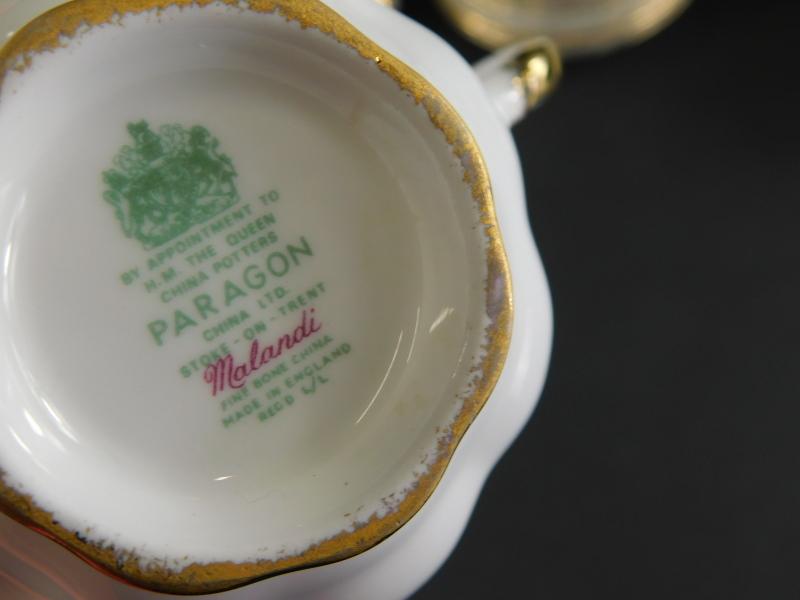 A Paragon Malandi pattern part tea service, to include sixteen cups, milk jug, sugar bowls, plates, - Image 2 of 2