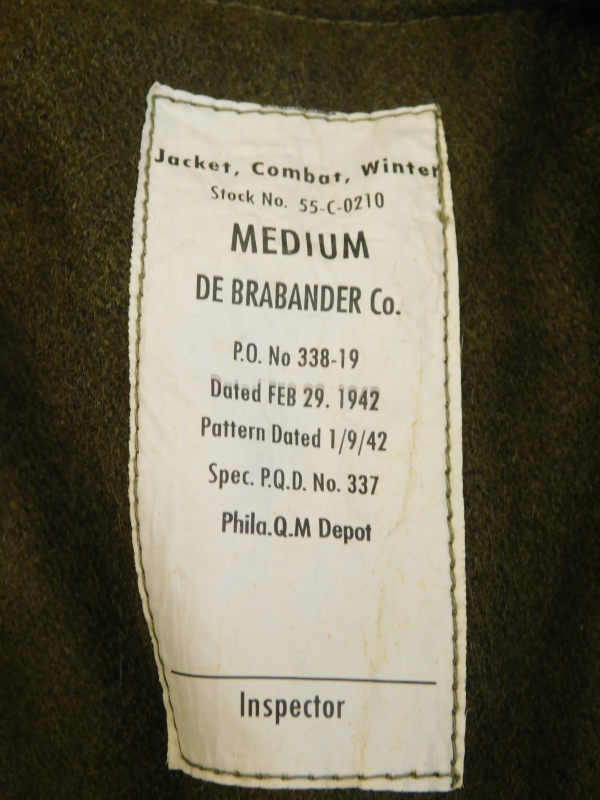 A Second World War winter combat jacket, size Medium, label for De Brander Co, dated February 29 194 - Image 2 of 4