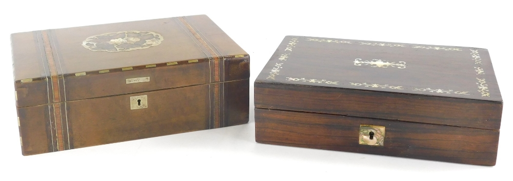 A 19thC and later rosewood and mother of pearl jewellery box, of rectangular form with mother of pea