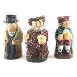Three Royal Doulton Toby jugs, Sir John Falstaff, Winston Churchill and Old Charley.
