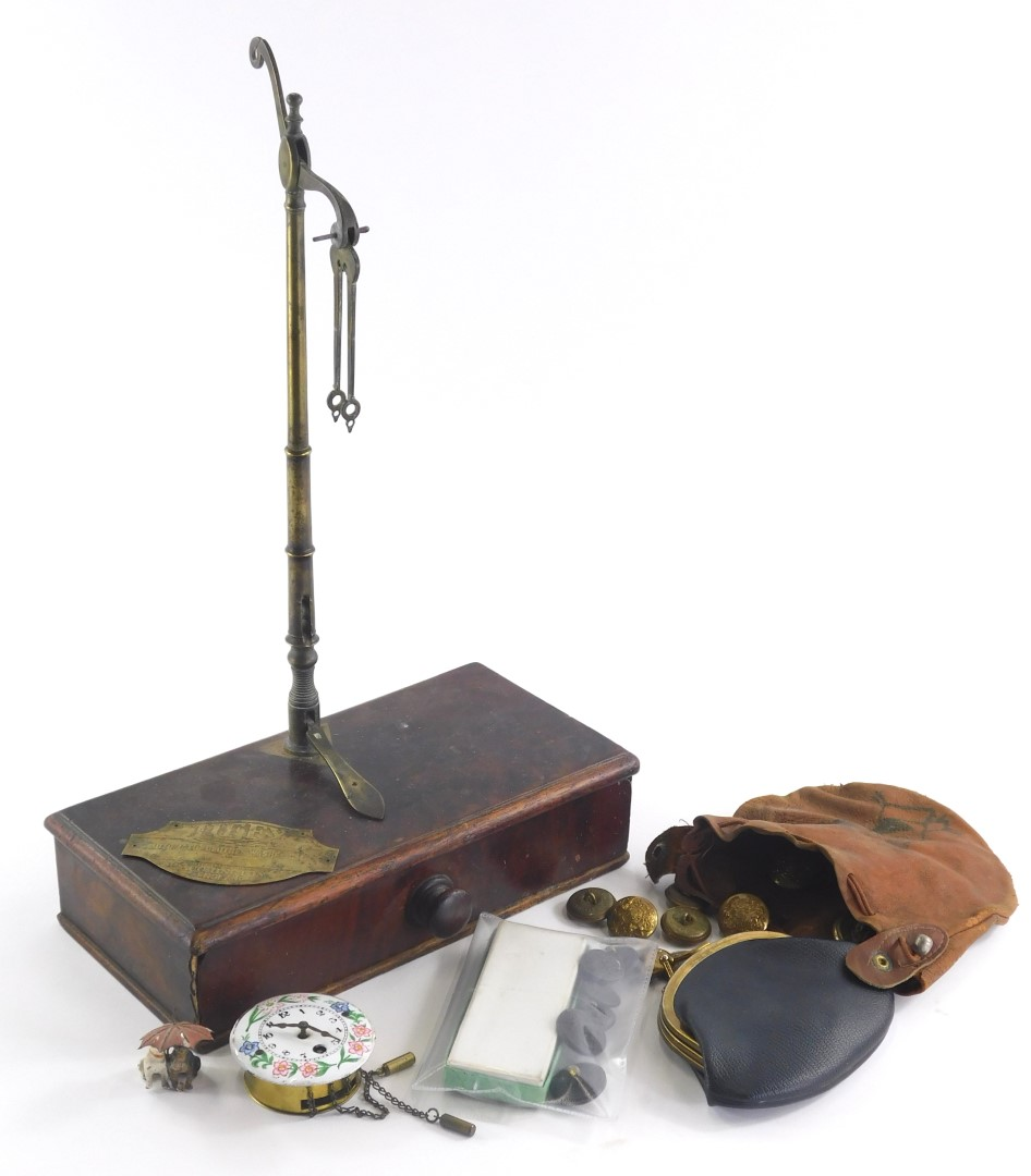 A quantity of miscellaneous items, to include a 19thC set of scales, a coal painted spelter figure o