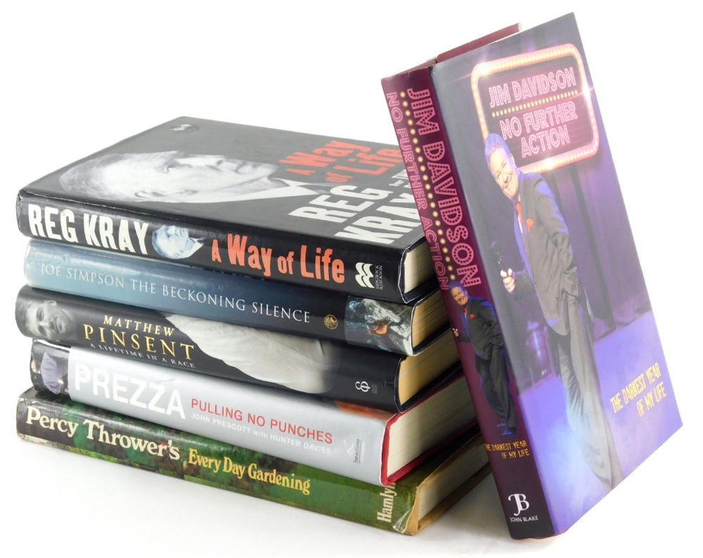 Various books, autobiographies, to include Davidson (Jim) No Further Action, hardback with dust wrap