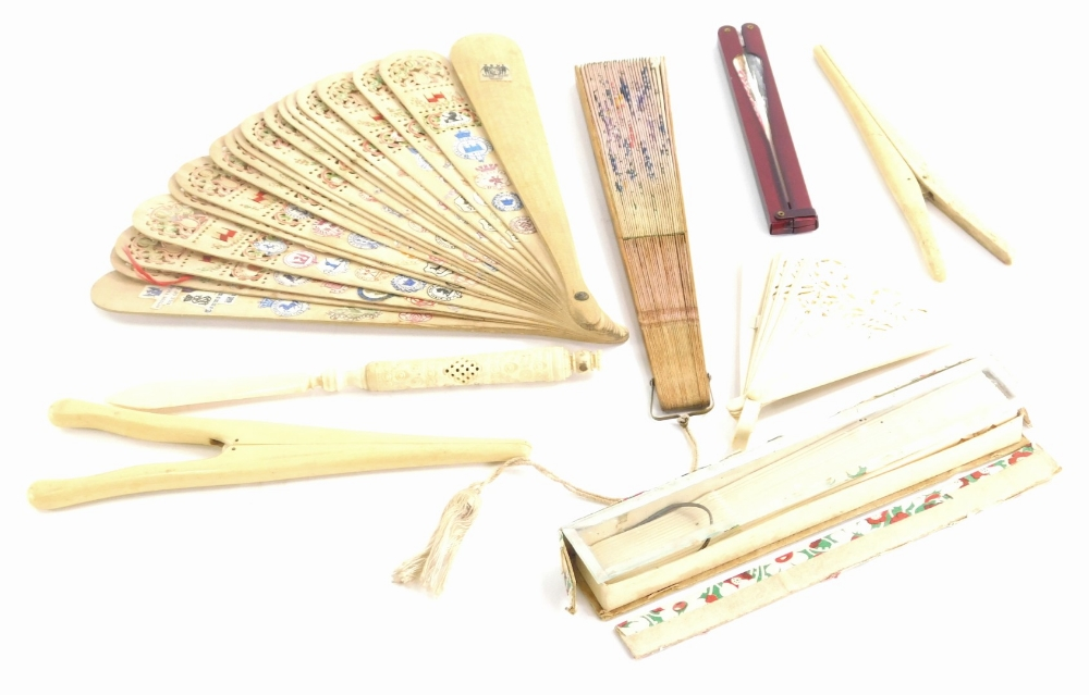 A quantity of items, to include a carved bone paper knife with stanhope, bone glove stretchers, a fa