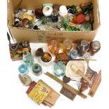 Various bygones collectables, etc., chemist bottles, small pestle and mortar, pharmaceutical bottles
