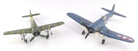 A Franklin Mint Armour Collection die cast model of a F4u Corsair, scale 1:48, together with a Fokke
