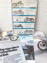 A BMW motorcycle advertising poster, for R27, 50, 60 and 69, framed and glazed, 68cm x 47cm, and thr