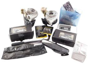 Nissan 3000 GT car parts, comprising two carburetors, oil filter, rear view mirror, two packs of hea