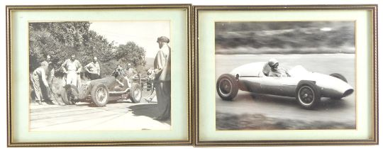 Two mid century motor racing and hill climbcar photographs, 15cm high, 19.5cm wide.
