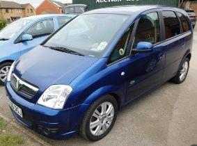A Vauxhall Meriva, registration KX06 DGJ, 067,598 recd mileage, diesel, blue, first registered 18th