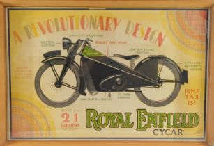 A poster for Royal Enfield Cycar, Trade Mark Made Like A Gun, a Revolutionary Design,