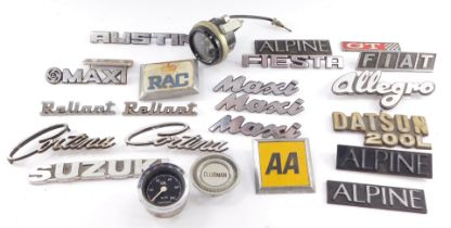 Car body name plates, including Maxi, Austin Allegro, Fiat, Suzuki and Alpine, metal and plastic, to