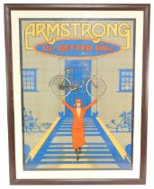 An Armstrong advertising poster The Better Bike, showing a lady holding aloft a lady's bicycle, 95cm