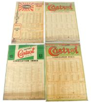 A Castrol Lubrication index poster, two further, and a Sternol lubrication chart. (4)