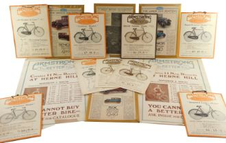 Six Armstrong For Better Bike advertising cards, together with model sheets, Singer advertising stru