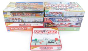 Assorted Monopoly games, including Here and Now, My Monopoly and Monopoly City, boxed. (9)