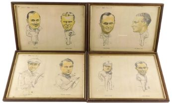 Eight of The Motor Character Studies of Motor Racing Driver, framed as four, February 6th, 27th, Mar