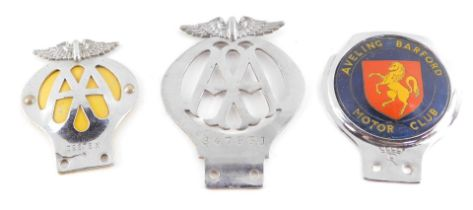 An Aveling Barford Motor Club car badge, and two AA car badges, A4793J and 39878X. (3)