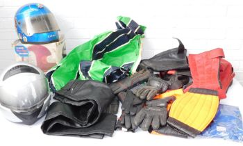 Assorted motorcycle boots, gloves and clothing, together with an AGV X3000 fibreglass motorcycle hel