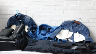 BMW motorcycle apparel, comprising two leather jackets, a pair of boots, a bag, light jacket and tro