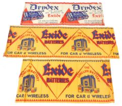 Three early 20thC tissue paper advertising banners, for Drydex, The Supreme Dry Battery By Exide ano