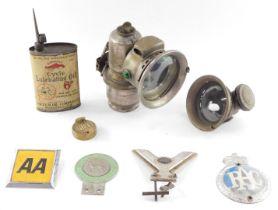 Britain Alsatian Association RAC and AA car badges, a tin of Gargoyle cycle lubricating oil, Veteran