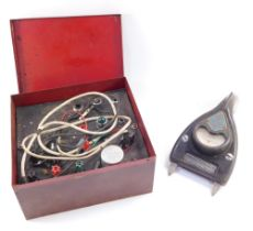 A Morrall & Whiteley Ltd testometer, The Red Box, together with a Davenset High Discharge battery ch