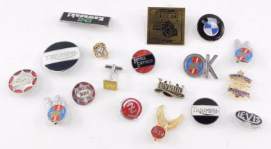 Motorcycle enamel badges, including Triumph, BSA, BMW and Royal Enfield. (a quantity)