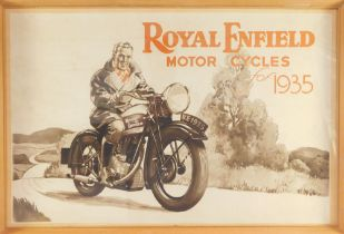 A poster for Royal Enfield Motorcycles for 1935, framed and glazed, 47cm high, 72cm wide.