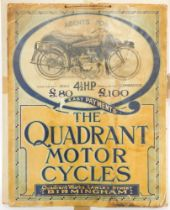 An early 20thC advertising poster, for Quadrant Motorcyles, 57.5cm high and 45cm wide.