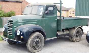 A 1955 Ford Thames SWB lorry, twin axle historic vehicle with boarded flat bed