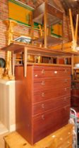 A melamine chest of drawers, teak coffee table, night stand, and a plant trough. (4)