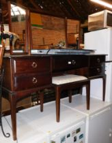 A Stag mahogany dressing table, with stool. (2)