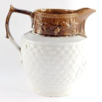 A Staffordshire mid 19thC two tone pottery water jug, moulded with a reserve of mythological figures