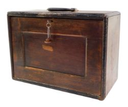A Neslein 1940's oak engineer's cabinet, of rectangular section with a carrying handle, the drop fla