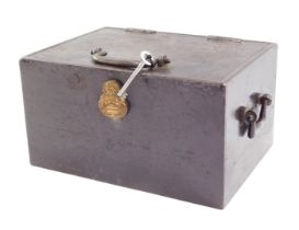 A Chubb cast iron portable safe, of rectangular section, with side handles and handle to the lid, pl