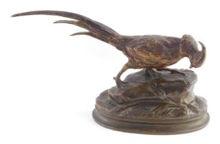 After Alphonse-Alexandre Arson (French, 1822-1880). A bronze pheasant, modelled on a naturalistic ov