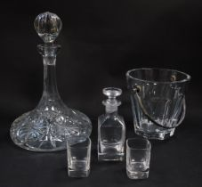 A Baccarat cut glass ice bucket, with a swing metal handle, etched mark, together with a cut glass w