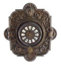 A French late 19thC copper cased cartel wall clock, circular dial with raised enamel Roman numerals,