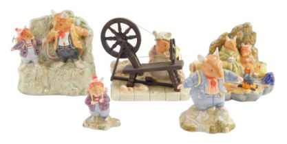 Five Royal Doulton Brambly Hedge figures, The High Hills collection, comprising Lily Weaver Spinning