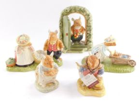 Five Royal Doulton Brambly Hedge figures, comprising Home For Supper DBH69, Heading Home DBH48, Dust