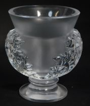 A Lalique clear and frosted glass vase decorated in the St Cloud Acanthaceae pattern, etched mark, 1