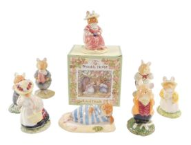 Eight Royal Doulton Brambly Hedge figures, comprising Mrs Salt Apple DBH25, boxed, Wilfred Toadflax,