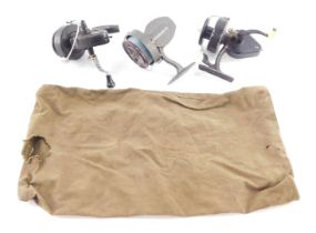 A KP Morritt's Intrepid Regent fishing reel, Intrepid-de-luxe fishing reel and further reel. (3)