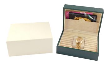 A Rolex gentleman's 18ct gold cased Oyster Perpetual day-date wristwatch, circular gold dial baring