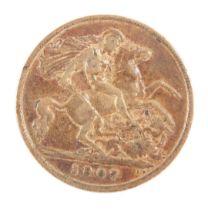 An Edward VII gold half sovereign 1907, 4.0g.
