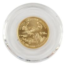 A United States Liberty one tenth ounce gold five dollar coin 2016, 4g.