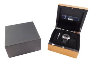 A Panerai Luminor gentleman's stainless steel cased wristwatch, circular black dial baring Arabic nu