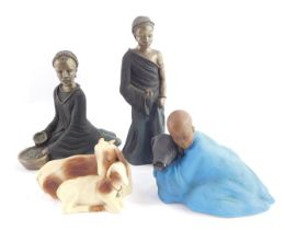 Four Soul figures, comprising Nena-Sweet Melody, Awena-Gentle Sister, Yahya-Gods-gift, Wealth of the