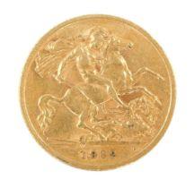A George V gold half sovereign 1912, 4.0g.